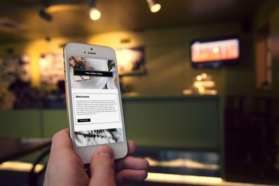 Koffiecorner website op mobiel met OneTap.Online binnen 1 uur!