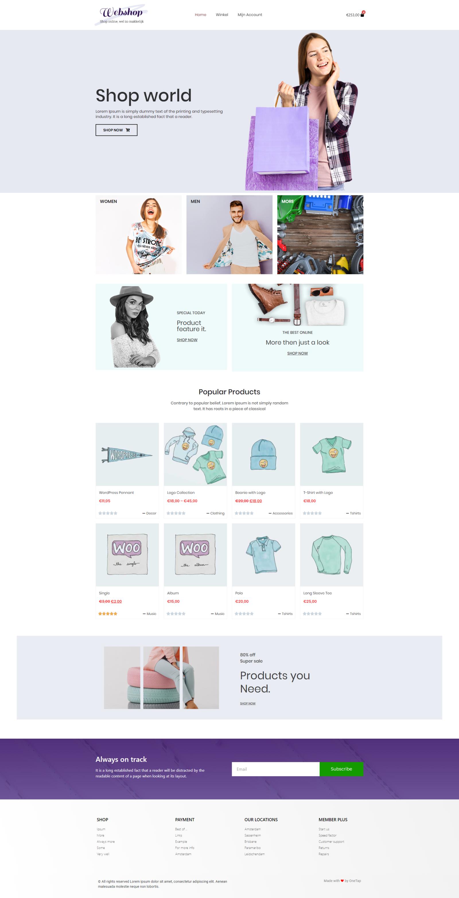 WooCommerce pakket van OneTap WordPress webshops