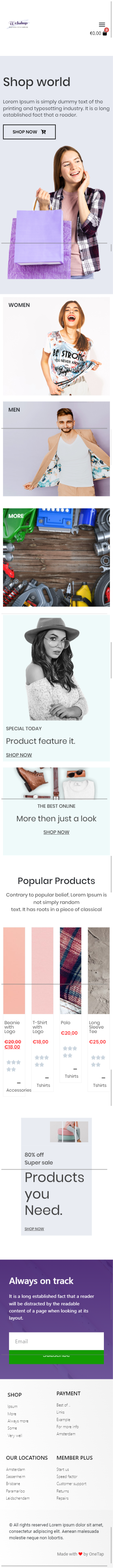 WooCommerce pakket van OneTap WordPress webshops mobiel