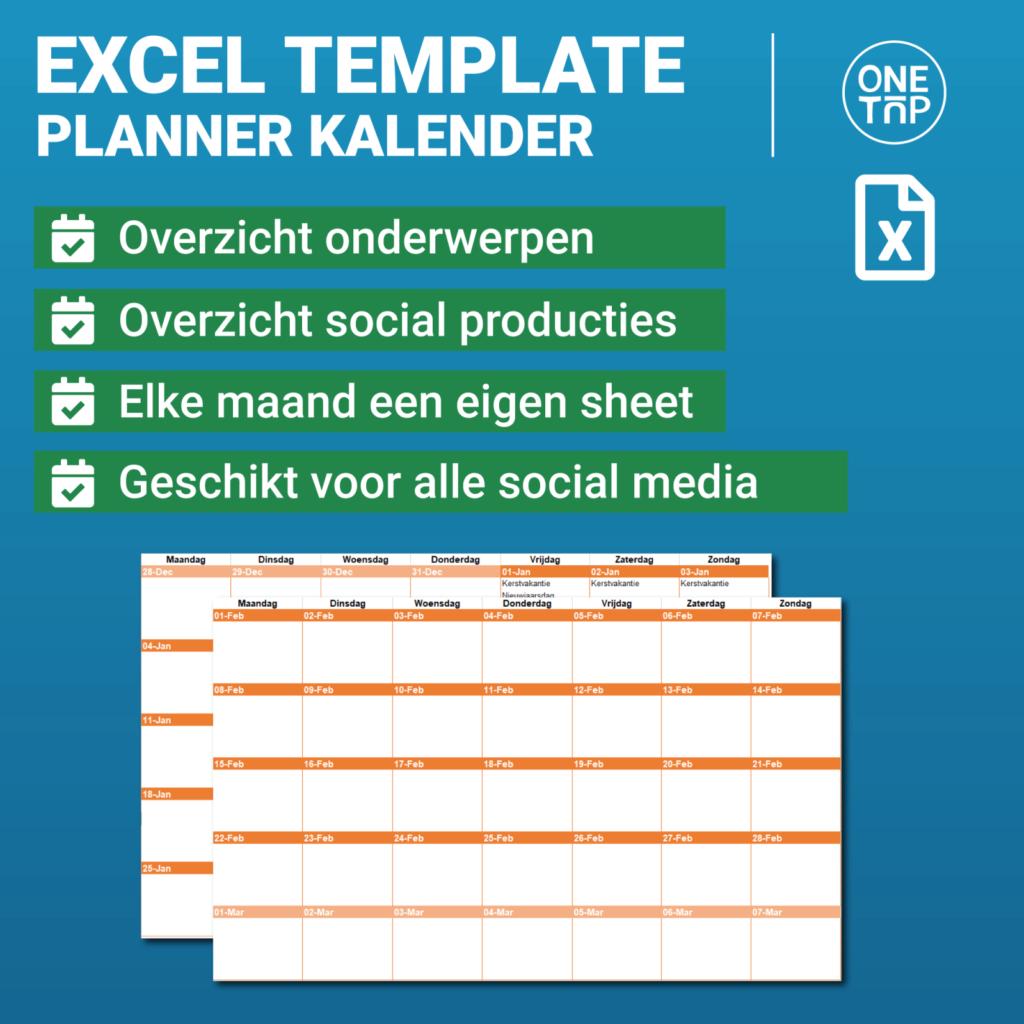 OneTap Social media Excel planner template